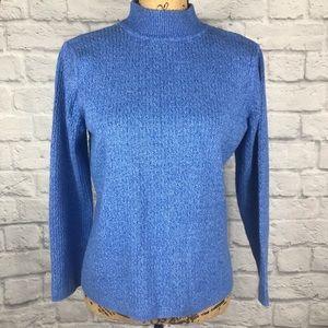 KAREN SCOTT Blue Mock Neck Ribbed Knit Sweater